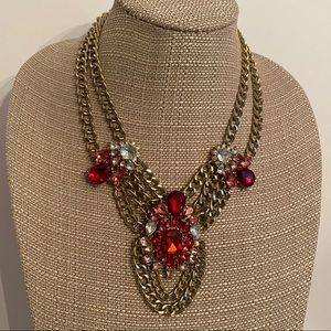 Bridgerton style gold chain & red stone necklace